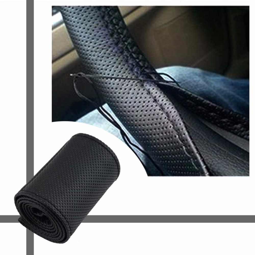 Nouvelle Couverture De Volant de Voiture Tresse sur le Volant En Microfibre Antidérapant Housse Toute Seul Connecteur 36-38cm Voiture-style