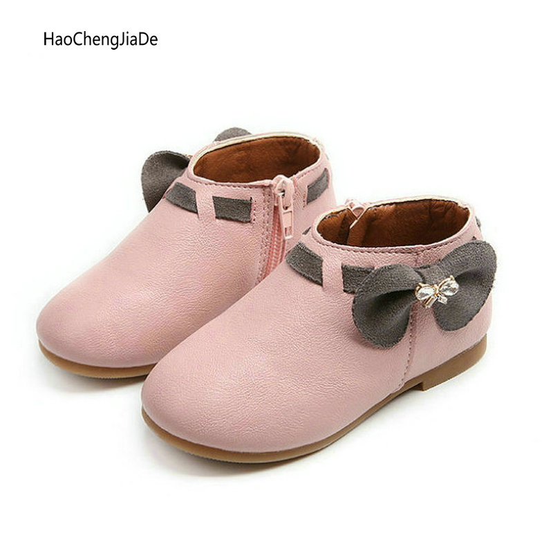Fashion Children's Boots Girls Shoes Ankle Boots New Girls Cute Boots Autumn Kids Bowknot short Boots Baby Sneakers size 21-30
