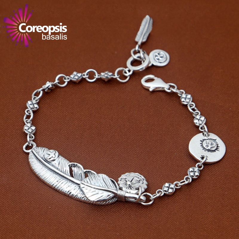 Thai Silver Bracelets & Bangles Genuine 925 Sterling Silver Mens Jewelry Bracelets For Men Male Retro feather flying Eagle Goro buy mens string bracelets