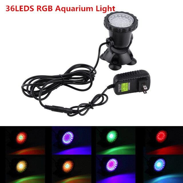 3.5W 36led aquarium light RGB Submersible Spotlights Garden Pond Pool fish Tank Underwater Bulb EU UK US AU Pulg optional