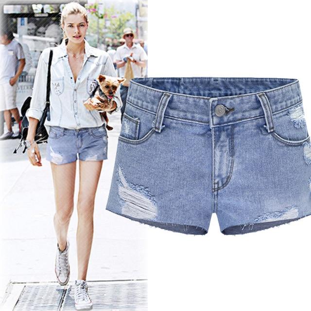 Kesebi 2017 Spring Summer New Hot Fashion Female Classic Basic Simple Bottoms Women European Ripped Washed Denim Shorts Shorts