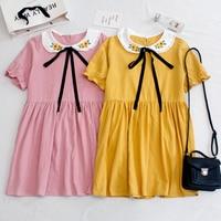 KYQIAO lolita dress 2019 mori girls Japan style sweet kawaii yellow pink peter pan collar bowknot sunflowers dress