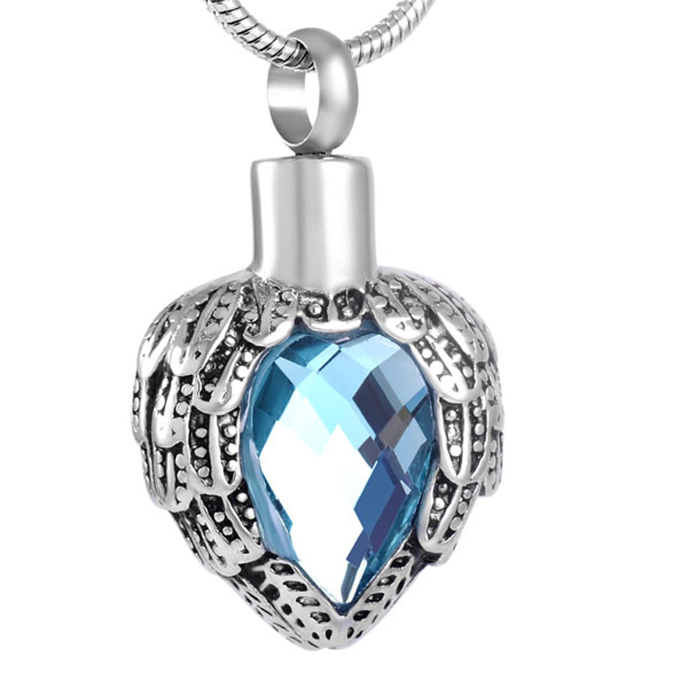 MJD8719 Cremation Jewelry For Ashes Elegant Feather Heart Inlay Colorful Birthstone Pendant Pendant Only