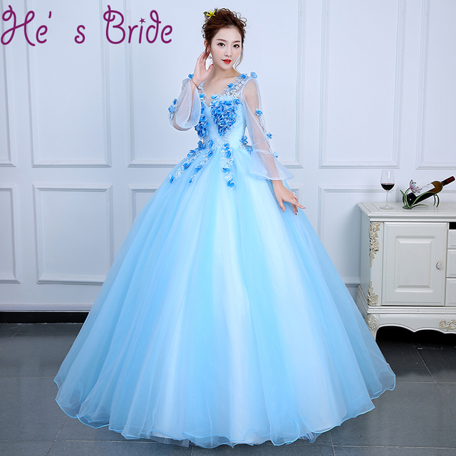 ad1b01c8cd Evening Dress Elegant Light Blue V Neck Long Sleeves Lace Up Back Ball Gown  Tulle Lace Flowers Floor Length Party Prom Dress