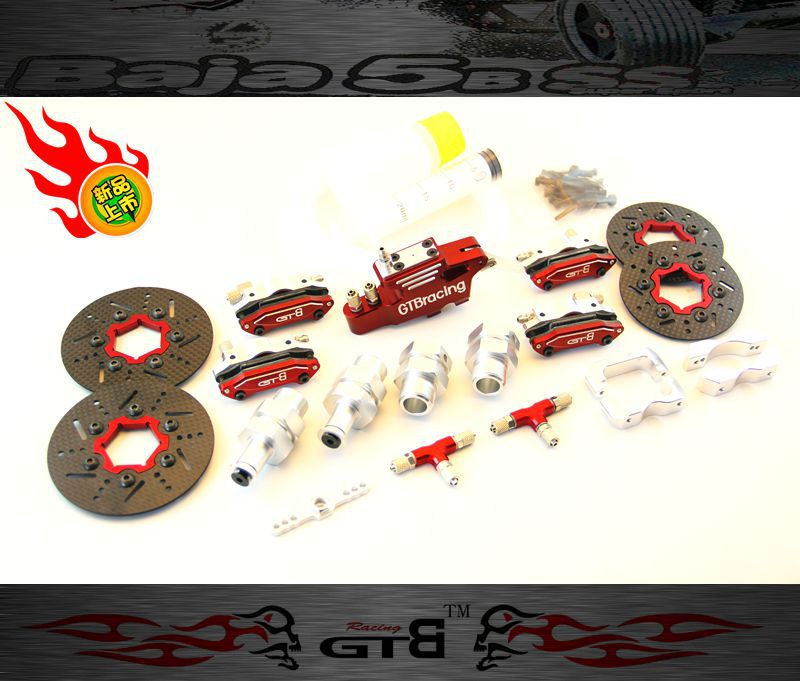 Gtb racing 4-wheel hydraulic disc brake for 1/5 scale gas baja 5b 5t 5sc GR077 main pump combination for gtb 4 wheel hydraulic brake set fit for 1 5 rc car hpi baja 5b ss