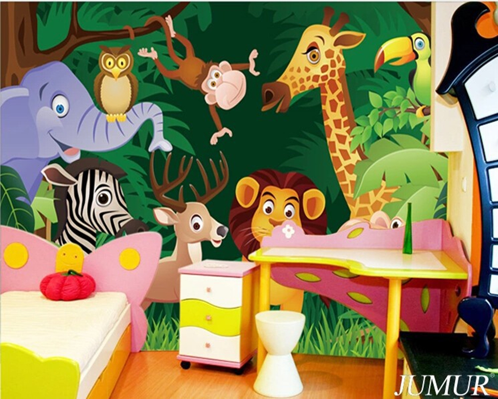 Custom large murals Cartoon animals of bedroom the head of a bed children room background wallpaper jungle general mobilization