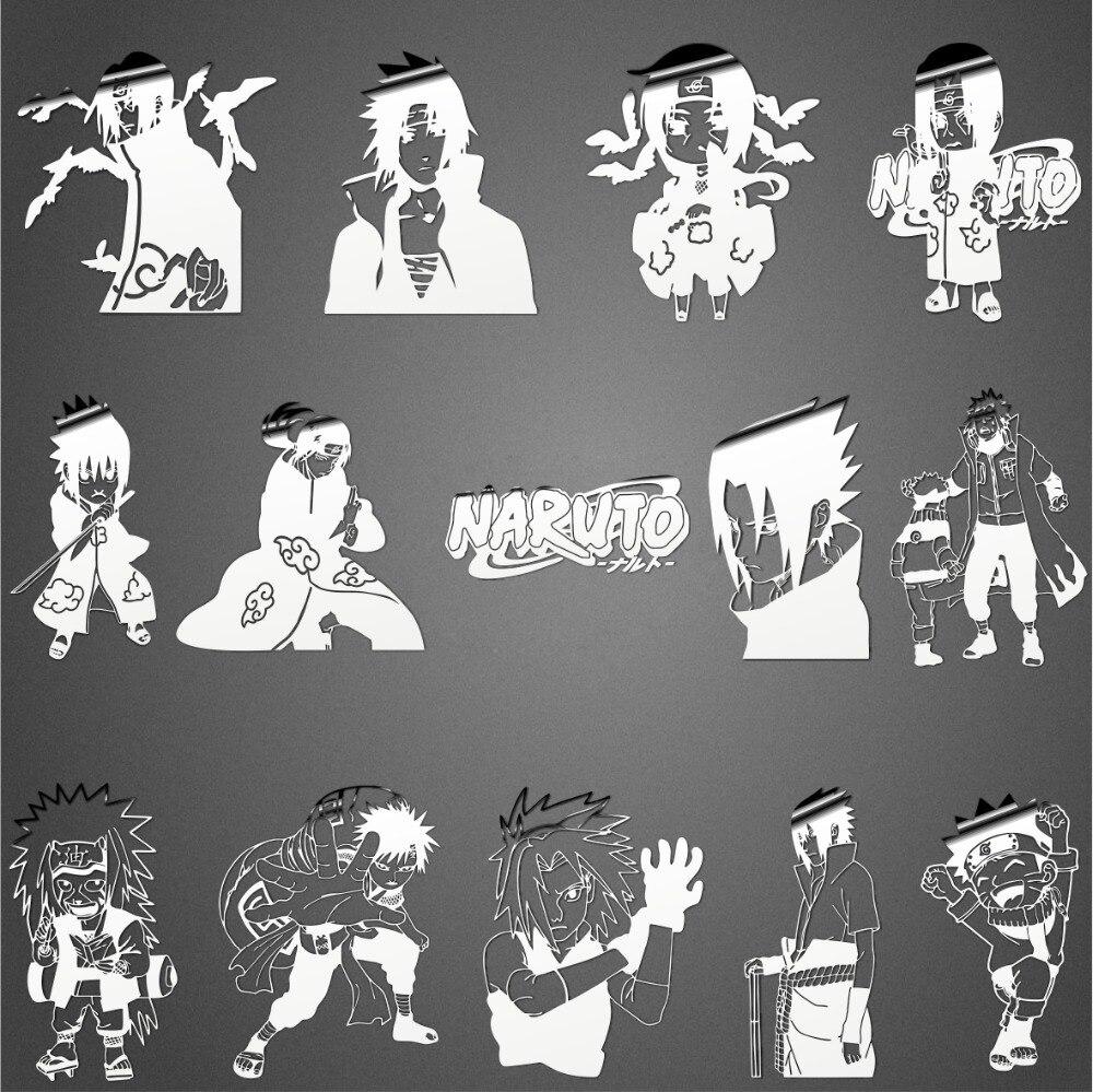 14 pcs anime naruto stiker logam stiker telepon pribadi stiker sasuke itachi uchiha gaara sakura haruno mainan stiker