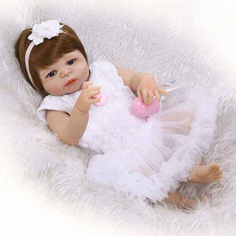 Baby Princess Doll 23 57cm Lifelike Full Body Silicone Reborn Babies Dolls Handmade Toddler Baby Dolls for Children Play Toys 28cm white full body silicone reborn baby dolls toys lifelike girls doll play bath toys gift brinquedods princess reborn babies