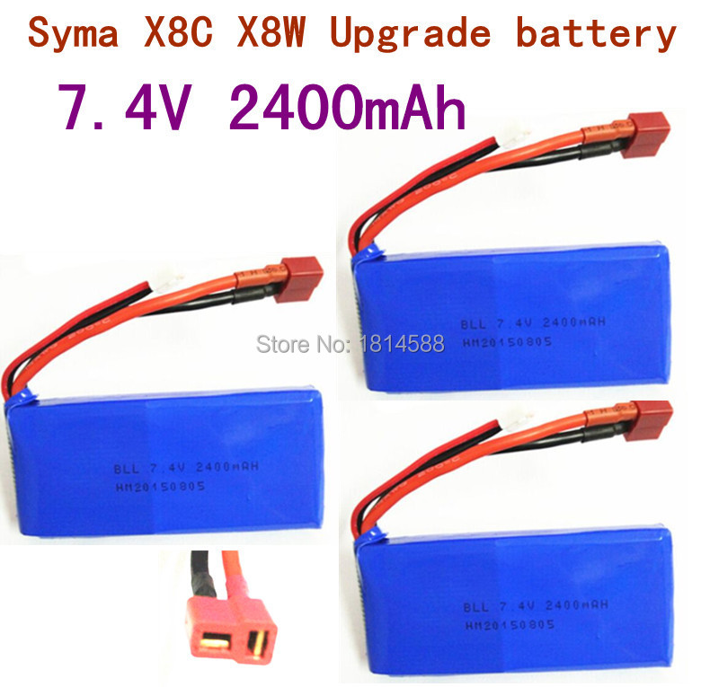 3 pcs SYMA X8 X8A X8C X8C 1 X8W X8G 7 4V 2400 mAh Li po