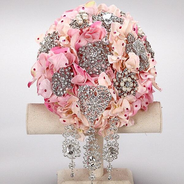 2016 Luxury Crystal Wedding Bouquets Drop Water Style Brooch