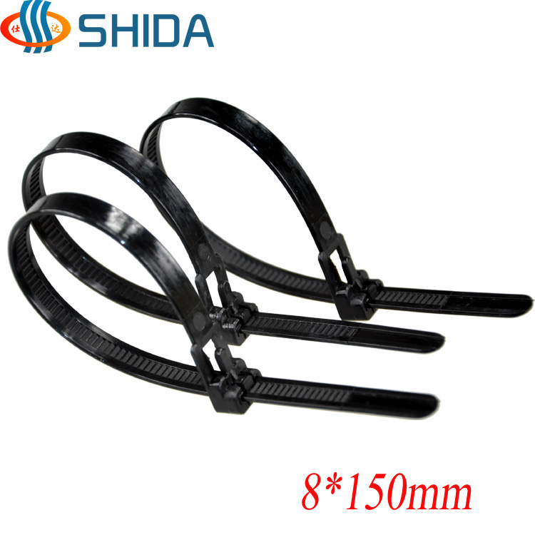5df31bc1efa1 100pcs 8*150mm Releasable Plastic Nylon Zip Ties, Black and White Wire  Organizer Cable Ties for Computer Wire Management