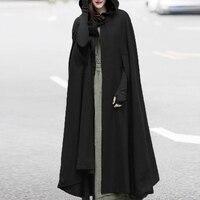 Vintage Women Hooded Cloak Coat Bat Sleeve Long Poncho Cape Coat 2018 Blend Cotton Shawl Plus Size Open Front Ponchoes