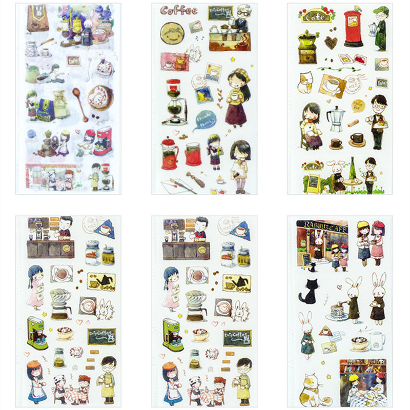 6 Sheets/Pack Coffee Arts Adhesive Decorative Stickers Album Diary Stick Label Stationery Craft Stickers
