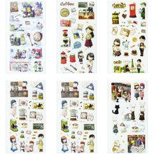 6 folhas/pacote café artes adesivo adesivos decorativos álbum diário vara etiqueta artigos de papelaria artesanato adesivos