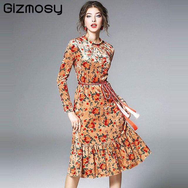 9b3dec1330 Vestido Floral Manga Longa Mulheres Primavera Flor de Impressão Vestidos de  Festa de Veludo Ouro Feminino