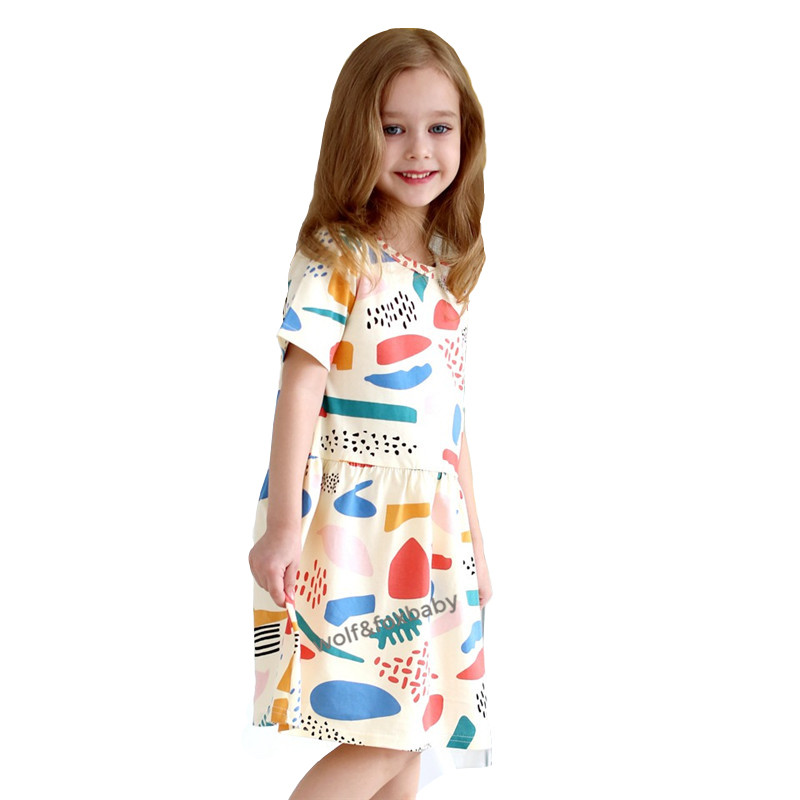 dd67e3199609 Retail 3 10 years dress cotton girls clothing fruit graffiti color ...