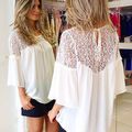 Fashion Ladies Sheer Sleeve Lace Top Blouse Shirt Embroidery Size 6-20