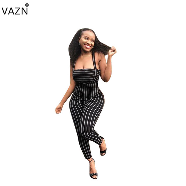 e3f725b8f1a VAZN 2018 autumn sexy 2-pieces striped sleeveless jumpsuits women strapless  jumpsuits ladies hollow out skinny jumpsuits MZ8167