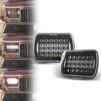 """5x7Inch Square LED 5D Truck Projector Headlight 6x7"""" LED H4 Truck Headlamp  with DRL For Jeep Cherokee XJ"""