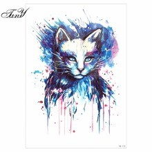 1pc Beauty Blue Colored Drawing Cat Picture Design Tatoo Waterproof Temporary Tattoo For Women Body Arm Art Tattoo Sticker