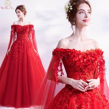 2019 Fashionable Floral Print Prom Dresses Red Luxurious Ball Gown Elegant Princess Boat Neck Beaded Lace Up Evening Party Gowns