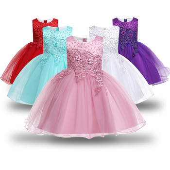 aaf3fe7ba Vestido de flores para niñas, vestido de princesa de fiesta con tutú de  encaje, desfile de Navidad para niños, ropa para niños 3 6 9 12 años