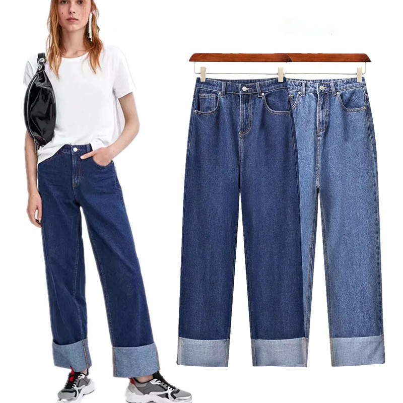 Denim   Jeans   Women High Street Vintage Mom   Jeans   Washed Roll Up Wide Leg Pants Women High Waist Loose   Jeans   Casual Plus Size