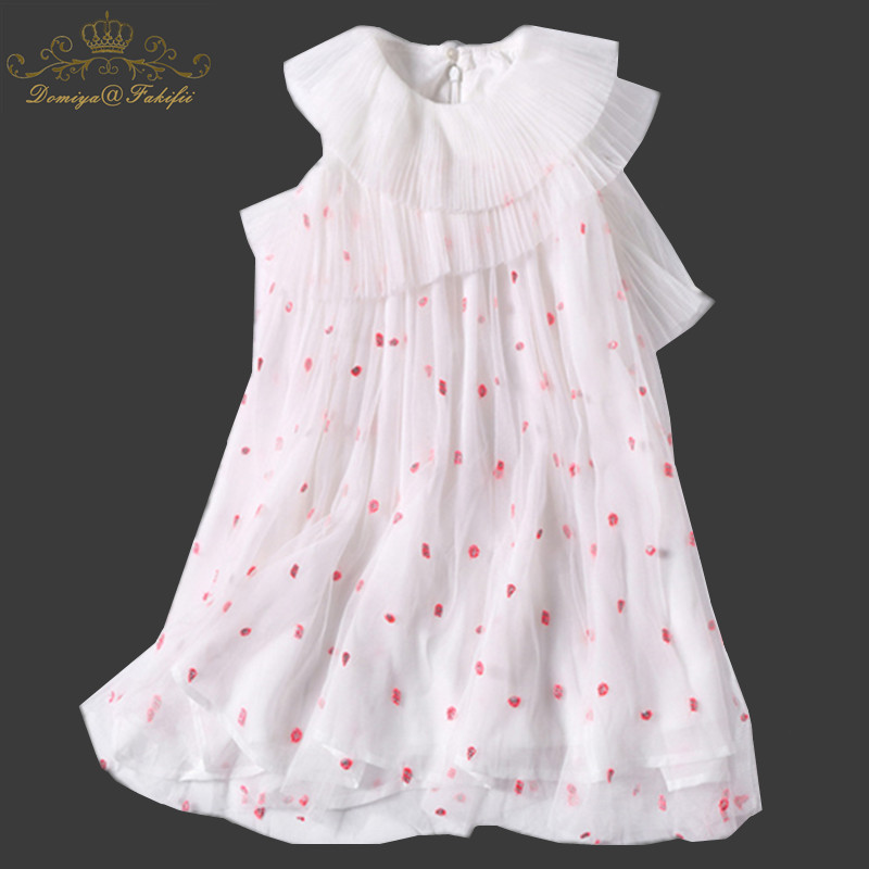 Girls Summer Dresses 2018 Brand Embroidery Dot Girls Mesh Pleated Dress Kids Dresses for Girls Clothing Princess Costume Child european and american fashion girls cotton dress summer girl party princess dress pleated polka dot kids dresses for girls 5 12y