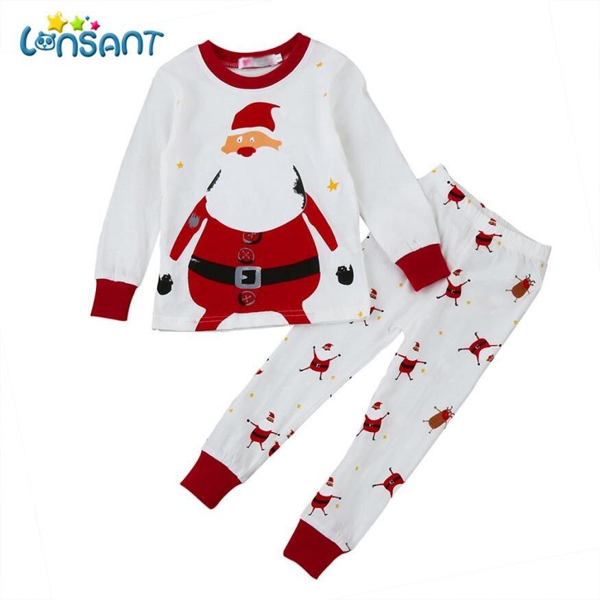 LONSANT Baby Christmas Clothes Set Children Fashion Christmas Home Outfits Pajamas Set Unisex Fantasias Infantil Dropshipping