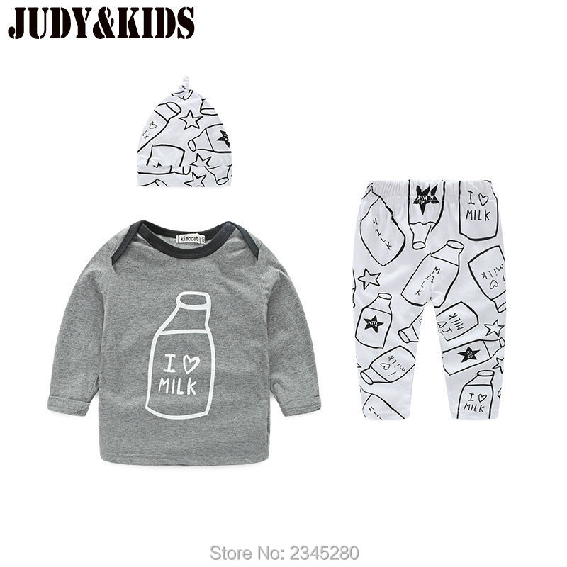 For Baby Boys Girls Clothing Sets New Style Milk Printing Kids Clothes Suits Tops Pants Hats