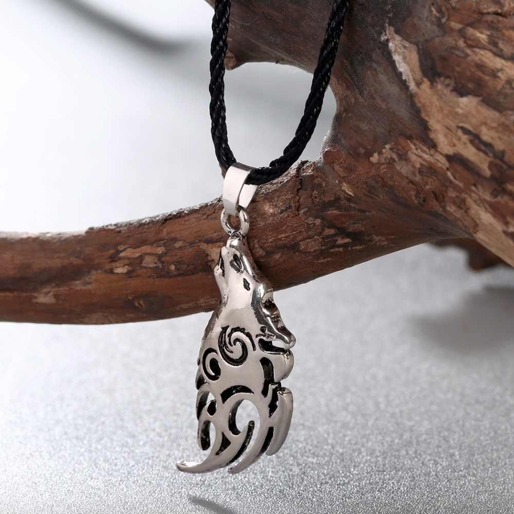 CHENGXUN của Nam Giới Valknut Vikings Amulet Pendant Necklace Norse Wolf Head Vòng Cổ Động Vật Ban Đầu Collier cho Tốt Nhất Bạn Bè Món Quà