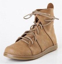 Winter models Sen female literary retro handmade leather flat boots SUB1289