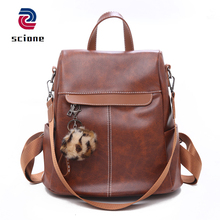 Купить с кэшбэком Fashion Leather Female Backpack Multifunction Backpacks for Women Large Capacity School Bags For Girls Anti-theft Travel Bags
