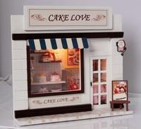 Juguetes hechos a mano Bricolaje Montado Casa Pastel de Amor Mini Miniatura Modelo Europeo Tienda de Regalos 2-4 Años De Plástico