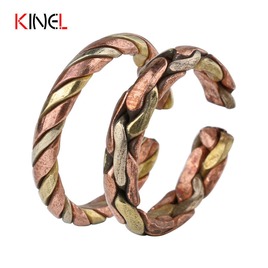 Fashion Vintage Antique Ring For Women Adjustable Punk Rock Midi Rings Brass knit Wedding Jewelry BOHO Female Ring Wholesale