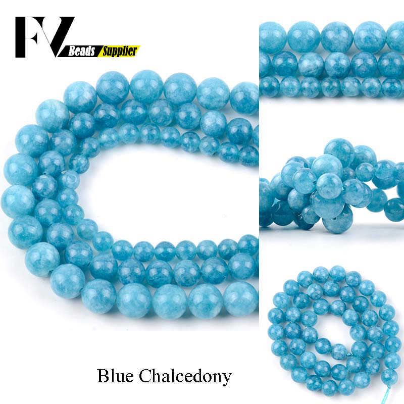 Naturstein Blau Chalcedon Runde Perlen für Schmuck Machen 4 6 8 10 12mm Ball Perlen Diy Armbänder Halskette zubehör 15 zoll