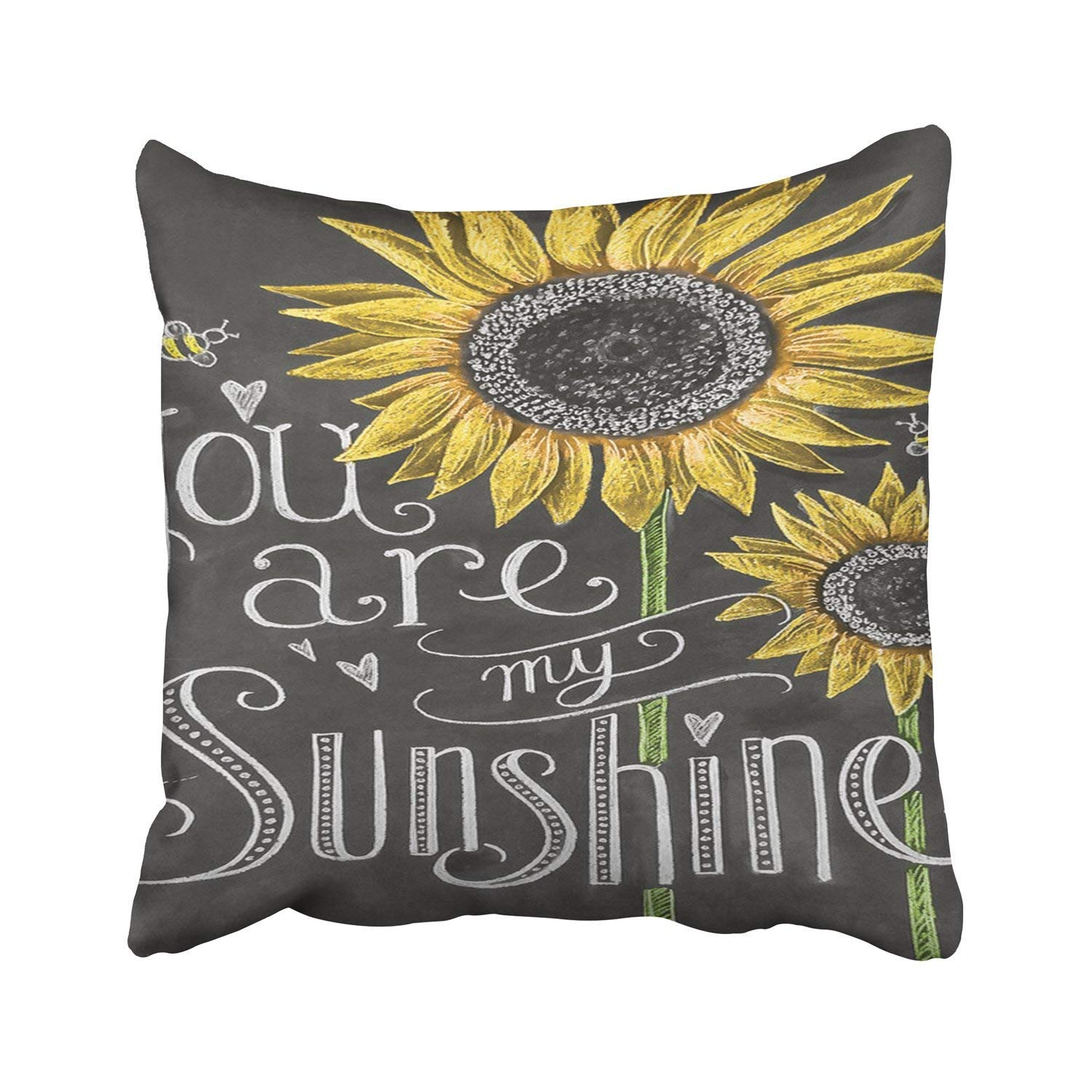 Throw Pillow Cover You Are My Sunshine Sunflowers Chalk