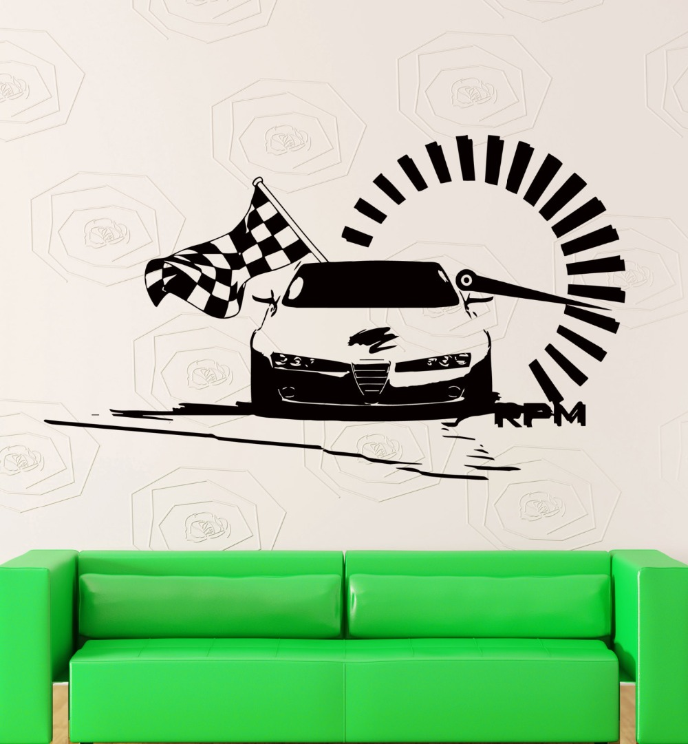 Design car flags - Racing Car Wiht Checked Flag Wall Decals Nascar Speed Racing Art Vinyl Wall Sticker Home Bedroom Fashion Style Decor Decal M 75