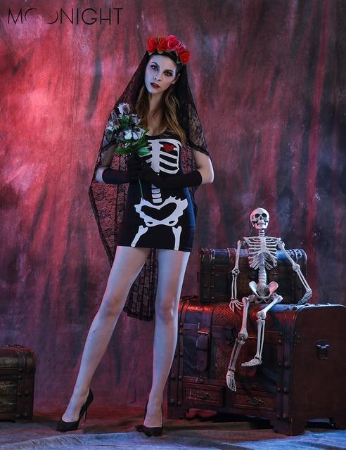 MOONIGHT Хэллоуин Скелет Призрак Зомби Костюм Ночь Ds Одежды Костюмы Для Женщин