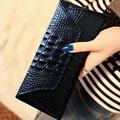 new Hot Sale Fashion High Quality 100% Genuine Leather Women Long Wallets Crocodile Grain Cowhide female cash Purse And Wallet