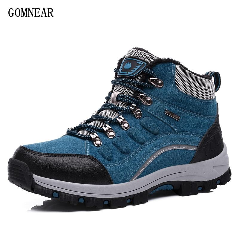 GOMNEAR Men's Winter HIking Shoes Plus Velvet Warm Outdoor Trekking Sport Shoes Antiskid Cold-Proof Outdoor adventure Sneakers