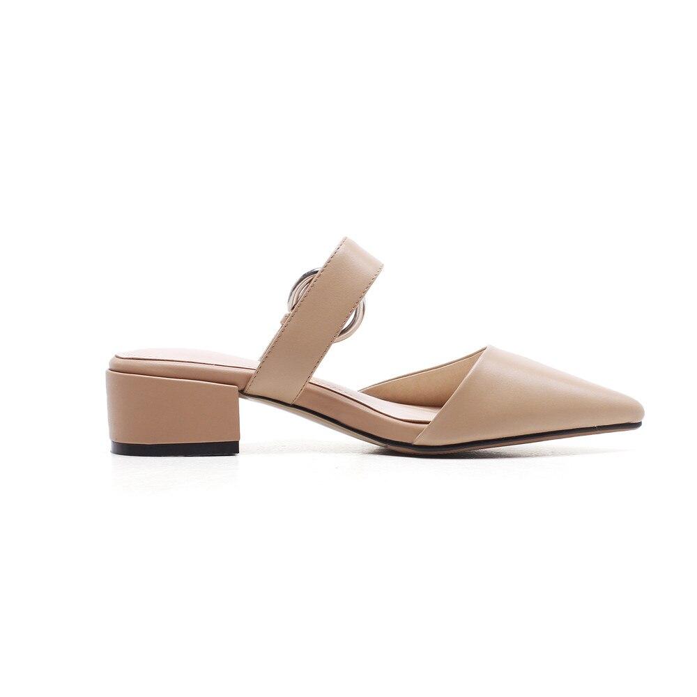 Véritable Mules Pointu Asumer Dames Femmes Pantoufles Orteil Apricot En Mode 2018 Chaussures Carré noir Occasionnels Printemps Été Talon Cuir qBOzwYq