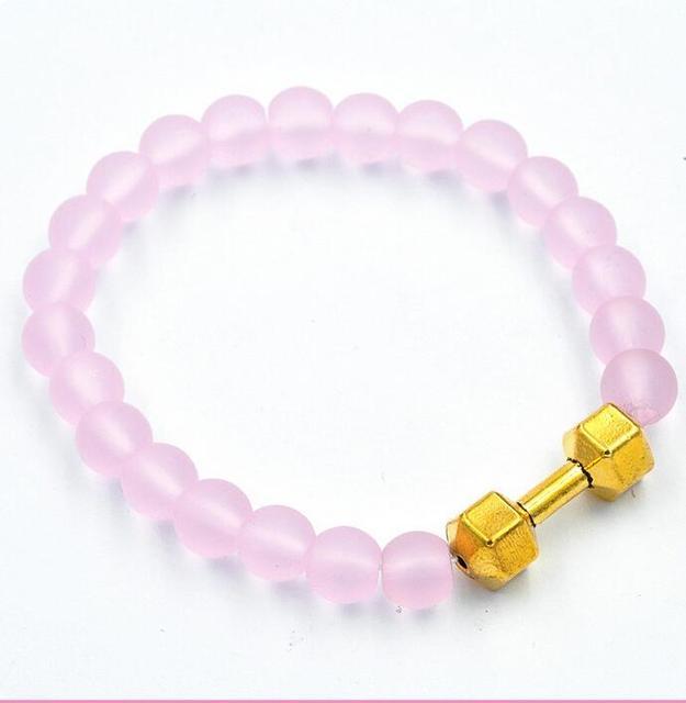 Nueva llegada al por mayor 8 unids/Aleación Barra de Metal con 8mm rosa piedras perlas de vidrio helada Mate de Fitness Con Mancuernas Pulseras del encanto