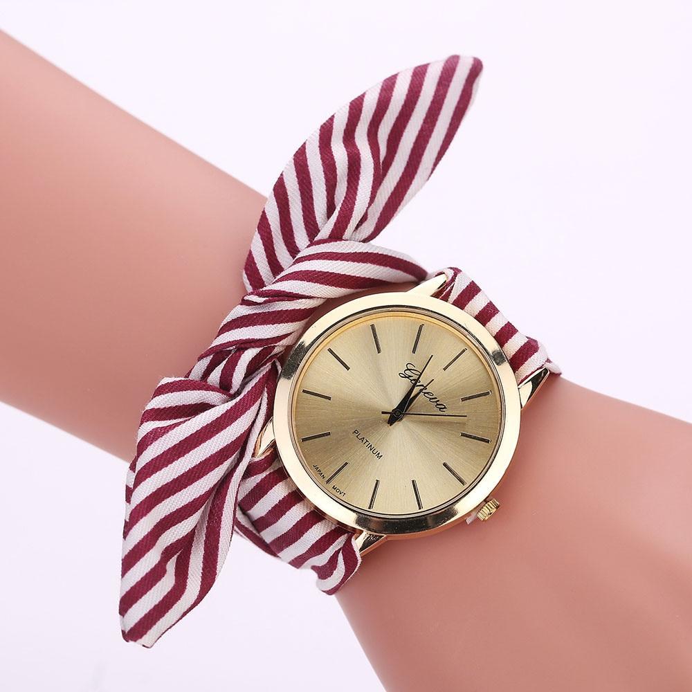 Casual Watches Women Fashion Stripe Cloth Strap Wrist Watch Women's Clock Geneva Floral Print Bracelet Quartz Watches Relogio #Z casual v neck stripe print capri jumpsuit for women