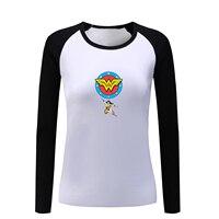 Wonder Woman Superhero Clock Design Long Sleeve T Shirt Women Lady Girl Anime Tshirt The Flash