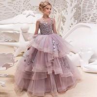 Girl Wedding Dress Kids Ball Gown Girl Princess Dress Party Dress Birthday Clothes Floor Length Elegant for 4 14 year