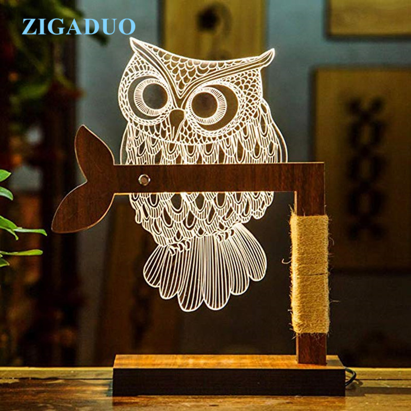 3D Wooden LED OWL Animal Night Light Warm Lighting Table Reading Lamps Bedroom Home Decor Birthday Gift adjustable owl shaped 3d wooden stand lamp night light bedroom table desk lamp warm white lighting plug connector home decor