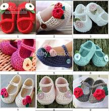 Crochet baby shoes Comfortable infant girl flower leaves 0-12M cotton first walker shoes