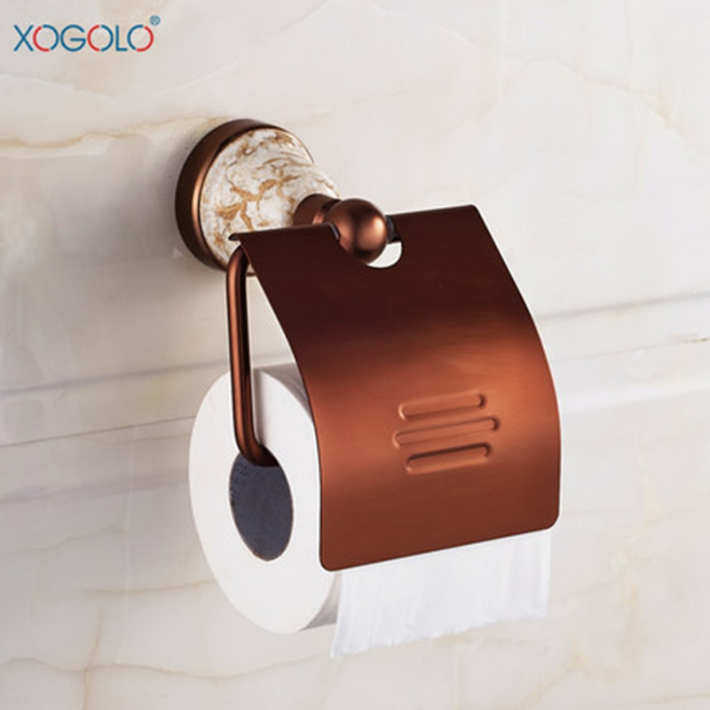 ФОТО Xogolo Space Aluminum Base Ceramic Mosaic Rose Gold Fashion Creative Toilet Roll Paper Holder Bathroom Accessories
