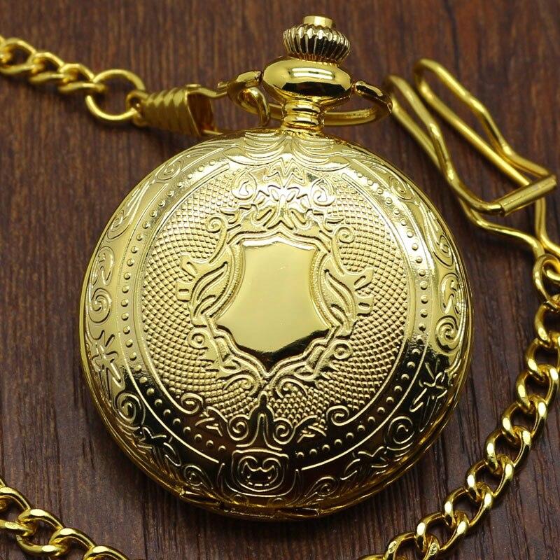 2019 New Arrival Golden Luxury Shield Crown Pattern Quartz Pocket Watch Round Pendant Men Women Gift With Chain